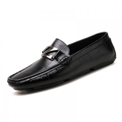 Fashion Men Loafers Leather Casual Shoes Slip On Moccasins Men's Flats Formal Men Driving Shoes black 38