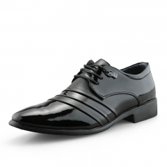 Leather Men Business Shoes Derby Black Patent Leather Pointed Toe Dress Shoes Mens Footwear Office black 39