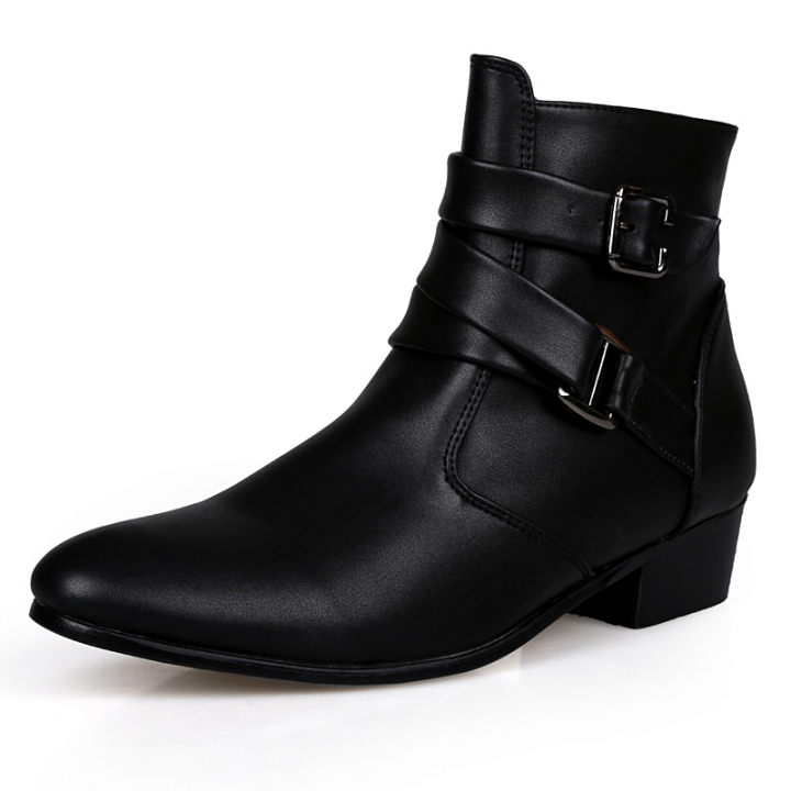 69459aa687 Quality Italian Mens Ankle Boots Pointed Toe High Top Casual Shoes ...