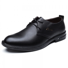 High Quality Gentleman Leather Shoes Men Lace-Up Business Dress Shoes Male Summer Office Oxfords black 39