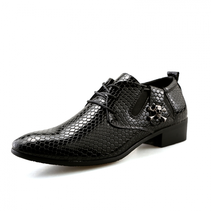Mens Leather Lace-Up Dress Business Shoes Man Skull Printed Casual Party  Flats Men s Driving b1a41edd210c