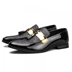 Men Tassel Loafers Men Dress Shoes British Style Men Loafers Fashion Men'S Flats Cool Business Style black 39