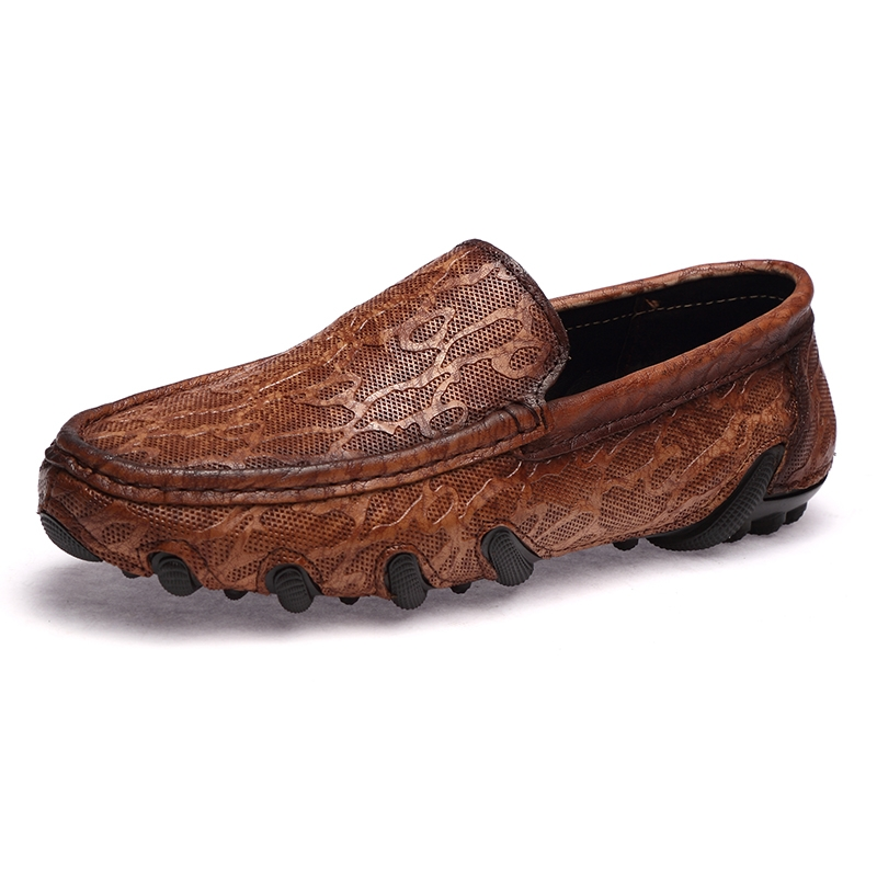 Mens Shoes Spring//summer//fall Men Shoes Breathable Loafers /& Slip-Ons Large Size Casual Shoes Leather Business Shoes Soft Bottom Man Shoes Peas Shoes Color : Bronze, Size : 43