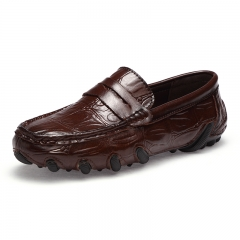 Cool Handsome Soft Moccasins Men Loafers Genuine Leather Shoes Men Flats Gommino Driving Shoes brown 39