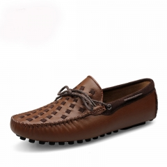 Leather Boat Shoes Mens Top Sider Driving Shoes British Style Handmade Fashion Casual Flats Gorgeous brown 39
