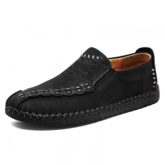 Genuine Leather Men Shoes Soft Moccasins Loafers Fashion Men Flats Comfy Driving Shoes Loafers black 39