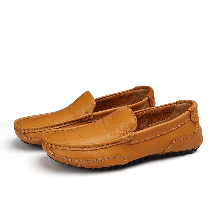 e566a5d0530 Urban Style Autumn Handmade Men Driving Shoes Loafers Leather Boat Shoes  Male Casual Flats yellow 42