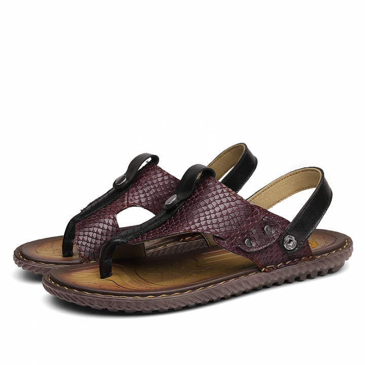 94bafbea4 Big Size 38-47 Cool Outdoor Men Flip Flops Cow Leather Summer Crocodile Men  Slippers
