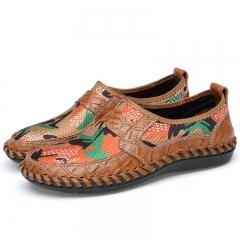 Big Size 38-46 Handmade Summer Holes Mesh Knitted Sneakers New Men Light Breathable Loafer Slip On brown 38