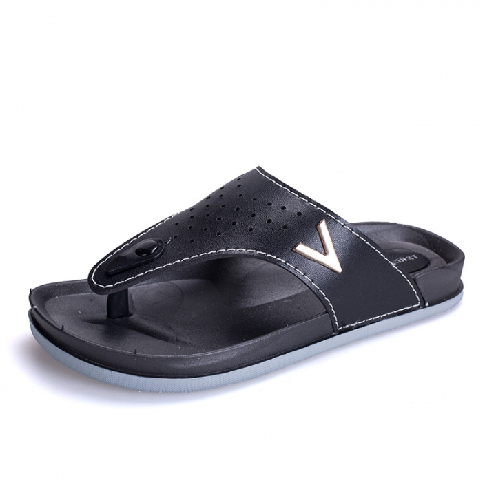 0687b7d65 New Summer Cool Leather Men's Flip Flops Beach Sandals for Men Flat Slippers  Non-Slip