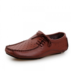 Summer Hollow Out Holes Soft Men Loafers Handmade Breathable Moccasins Driving Boat Shoes brown 38