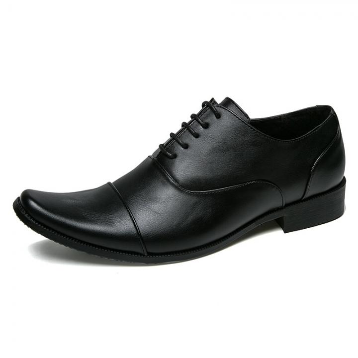Luxury Urban Vintage Men Business Shoes Leather Pointed Toe Dress Shoes Mens Oxfords Footwear Formal black 39
