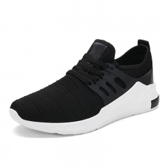 Luxury Brand Summer Men Sport Shoes Breathable Sneakers Athletic Leather Tennis Shoes Soft Cool black 39