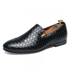 Men Dress Loafers Gentleman Fashion Party Men Casual Formal Shoes  Plaid Pattern Cool Slip On black 39