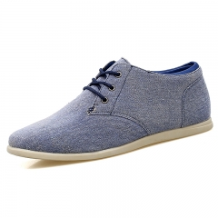 Vintage Old Fashion Canvas Shoes For Men Comfortable Denim  Jeans Shoes Slip On Casual Flats Oxfords blue 39