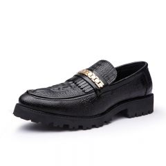 Men Dress Shoes Pointed Toe Business For Men Crocodile Leather Male Moccasins Flats Cool Thick black 39