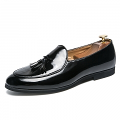 New Handsome Simple Men's Shoes Penny Loafers Patent Leather Dress Formal black 39
