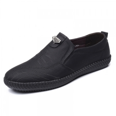 Men Dress Shoes Soft Light Leather Slip On Business Office Party Claasic black 39