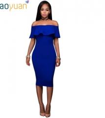 New fashion shoulder strapless dress 0339 blue s