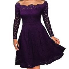 Temperament elegant sexy lace word strapless dress MF5321 purple s