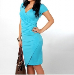 Sexy V-Neck Slim Candy Color Dress MF3187 blue s
