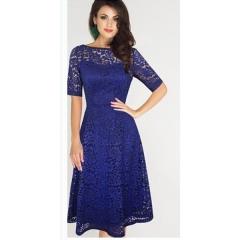 Temperament elegant sexy lace word collar dress MF5043 blue s