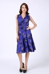 Explosive Retro Butterfly Print Dress 1116 purple s