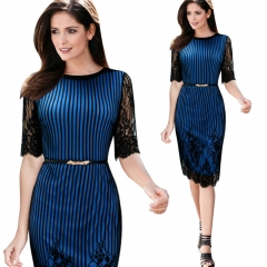 Europe and the United States sexy lace sleeves dress MF3534 blue s