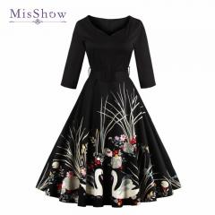 Seven Sleeve Retro Print Dress # 1107 black s