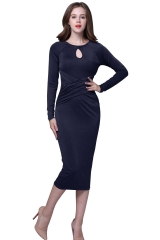 Medium long sexy hip skirt # 5503 blue s