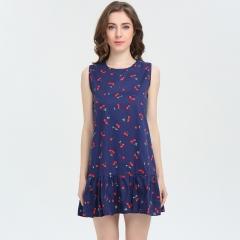 Bursts of women 's dress printed vest skirt 7083 blue s