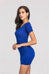Knit Dress Sexy Short Sleeve Skirt # 307 blue free size