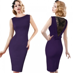 Women's lace hollow dress skirt pencil skirt dress MF5315 purple s