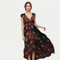 Woman New Bohemian Chiffon Short Sleeve Dress MF5039 as picture s
