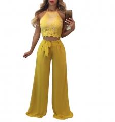 Women 's fashionable net yarn chiffon stitching lace leisure suit CM059 yellow s