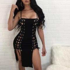 Women's wear hot style sexy multicolored double-row chicken eye strap dress CM065 black s