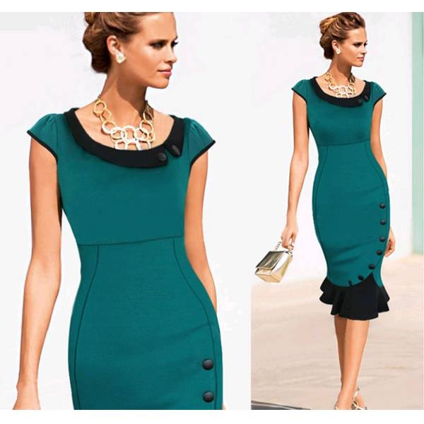 Sexy Women Elegant Patchwork EVENING Party Dress 695 green s
