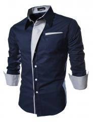 Men Long Sleeve Dress Shirts Slim Fit Men Brand Tops Clothes Patchwork Formal Business Shirt deep blue M