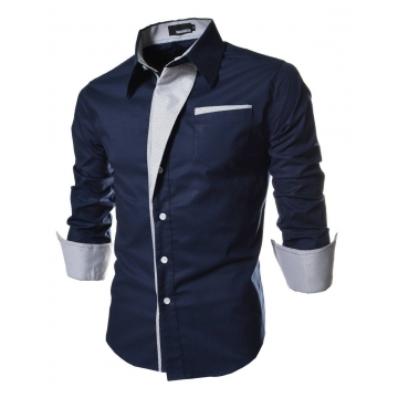 Men Long Sleeve Dress Shirts Slim Fit Men Brand Tops Clothes Patchwork Formal Business Shirt deep blue 3XL