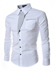 Men Long Sleeve Dress Shirts Slim Fit Men Brand Tops Clothes Patchwork Formal Business Shirt white M