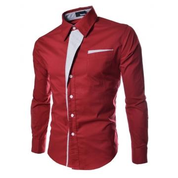 Men Long Sleeve Dress Shirts Slim Fit Men Brand Tops Clothes Patchwork Formal Business Shirt red M