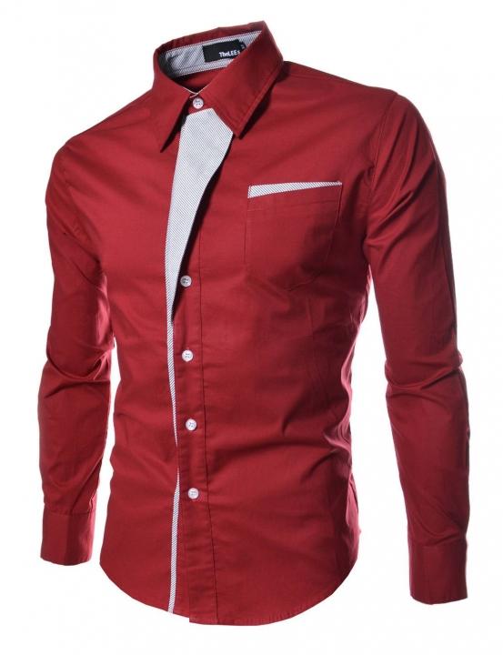 Men Long Sleeve Dress Shirts Slim Fit Men Brand Tops Clothes Patchwork Formal Business Shirt red 3XL