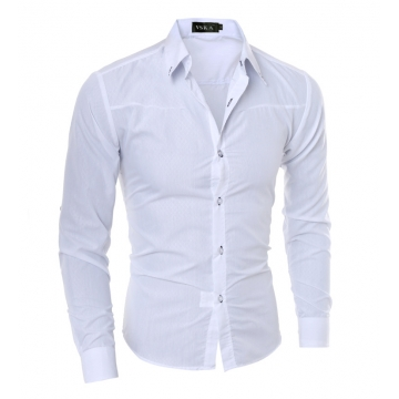 Hot sale New Mens Shirts Casual Slim Fit Stylish Mens Dress Shirts white m