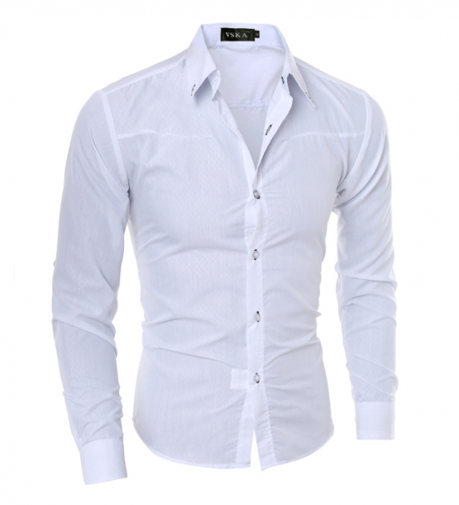 Hot sale New Mens Shirts Casual Slim Fit Stylish Mens Dress Shirts white m