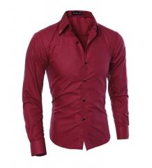 Hot sale New Mens Shirts Casual Slim Fit Stylish Mens Dress Shirts wind red l