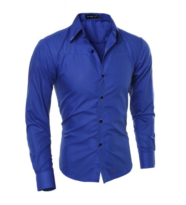 Hot sale New Mens Shirts Casual Slim Fit Stylish Mens Dress Shirts blue 3xl