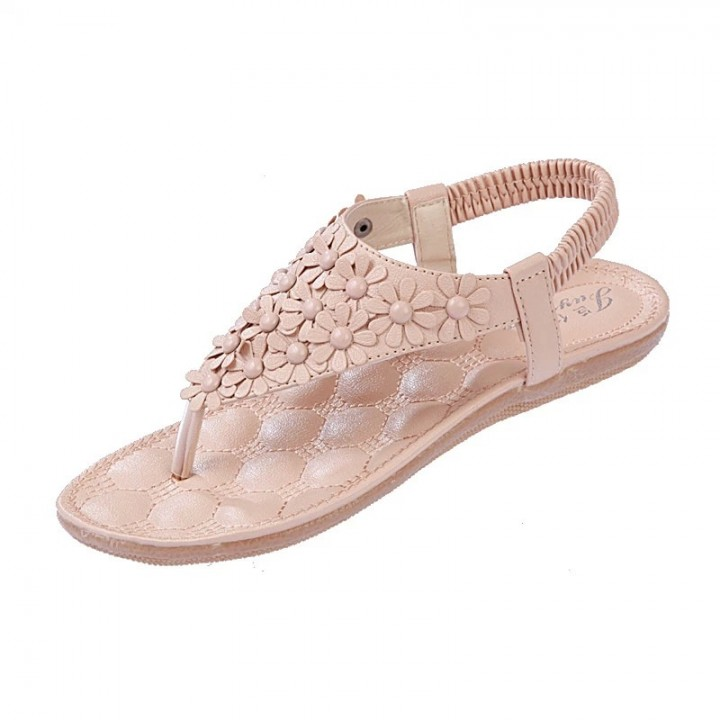 26f1aed937b837 Bohemia pinch bead toe flower shoes 669 apricot 36 69756