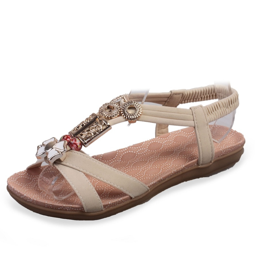 94133491bd0583 New flat with beaded sandals 598 beige 37 75207