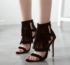Explosive fashion fringes high-heeled sandals FD588-1 black 35