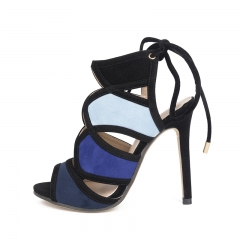 Lace with rainbow suede high heels FD767-7 black 35